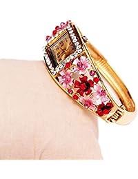VANKER Nuevas mujeres de aleación de banda flores de cristal de cuarzo reloj # 2