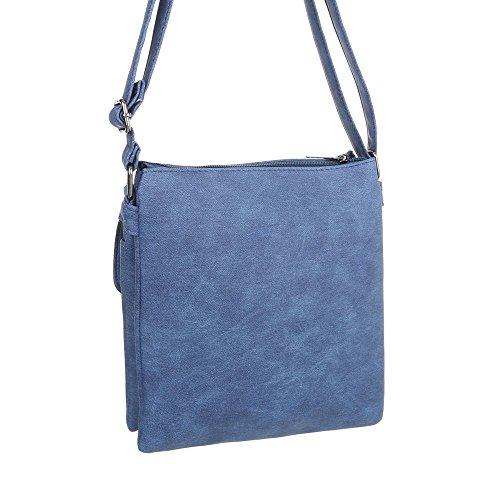 iTal-dEsiGn Damentasche Kleine Schultertasche Umhängetasche In Used Optik Kunstleder TA-B515 Blau
