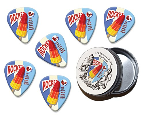 Rocket Ice Lolly Martin Wiscombe 6 X Gitarre Plektrums Picks In Tin Vintage Retro