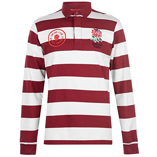 RFU Herren England Gestreift Rugby Trikot Langarm Creme/burgandy Medium (T-shirt Team Rugby England)