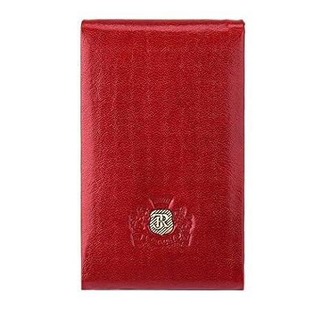 WITTCHEN Damen Visitenkartenhülle Visitenkartenetui, 2x7x11cm, Rot, Naturleder, Lackleder, Leder, Handmade, (Soy Tabletten)