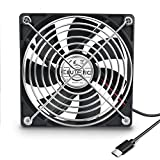 ELUTENG Ventilateur 120mm USB C Fan Grille Ventilateur de PC 5V Fan Cooler...