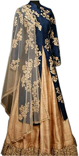 Stylevilla Women\'s Blue And Cream Color Embroidered Anarkali Style Semi - Stitched Salwar Suits With Dupatta Salwar Suits/Anarkali suits/Gown(FreeSize_Blue And Cream Color)
