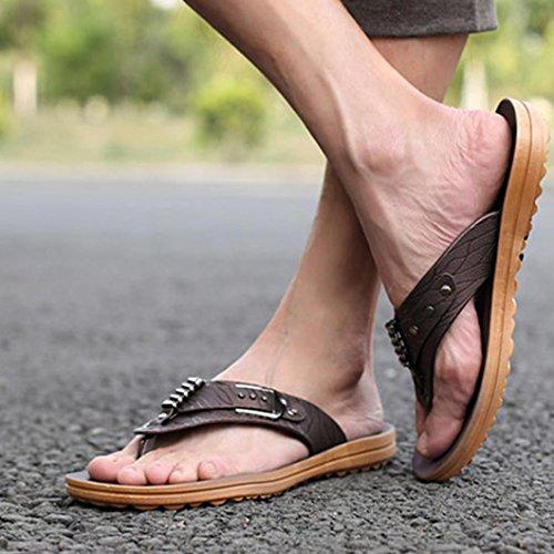 Herren Flip-Flops, SHOBDW Männer Sommer Englon Antiskid Flip Flops Schuhe Sandalen Männlich Slipper Flip-Flops Kaffee