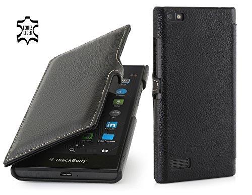 StilGut Book Type Case mit Clip, Hülle aus Leder für BlackBerry Leap, schwarz