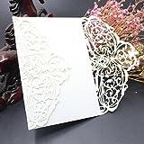 sunnymi 10Pcs Hochzeit Geburtstag Hohle Papierkarte weiß Einfarbige Einladungen,Hochzeit Einladungskarte Kit mit Umschlägen versiegelt personalisierte Druck (D, 10Pcs)