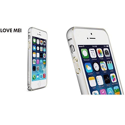 Love Mei Schutzhülle Bumper Rahmen aus Metall Ultra Fine aus Aluminiumlegierung de Luxe für iPhone 5/5S Silver+Golden