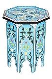 Marokkanischer Tisch Beistelltisch aus Holz Kalif Blau ø 42cm rund | Orientalischer Runder Hocker Blumenhocker klein für Ihre Wohnzimmer oder Küche | Orientalische Beistelltische als Dekoration