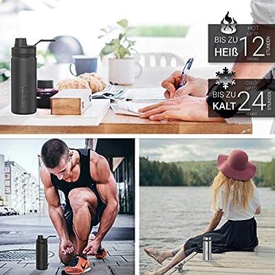 """Trinkflasche """"NoLimit"""" von 720°DGREE - 950ml +Gratis Sportdeckel   Neuartige Edelstahl Wasserflasche   Auslaufsichere Isolierflasche   Perfekte Outdoor Flasche für Kinder   Premium Thermosflasche - BPA Frei   Ideale Sport Flasche für Fitness   Isolierkann"""