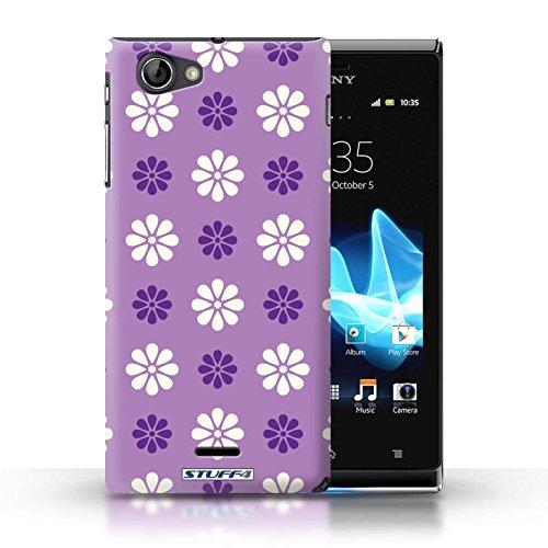 Kobalt® Imprimé Etui / Coque pour Sony Xperia J (ST26i) / Rose conception / Série Motif avec pétales Violet