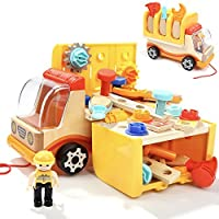 Toddler Tools Kit Set Toys for 3 Year Old Boys Birthday Gifts Wooden Truck with Folding Workbench