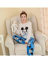 SALICEHB Conjuntos De Pijamas para Mujer Ronda De Dibujos Animados Kawaii Ropa De Dormir Nighty Femenino