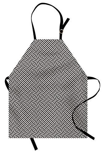 (Gitter Schürze, Interlacing-Linien Labyrinth keltischen Stil Tangled Graphic Mesh Design, Unisex-Küche Latzschürze mit verstellbarem Hals zum Kochen Backen Gartenarbeit, Kohle Grau und Eierschale)