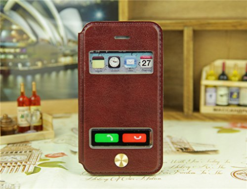 iPhone 4 4S Handycover, TOTOOSE für iPhone 4 4S Ultra dünn PU Leder Hülle mit View Windows Flip Stand Funktion Weiches TPU Silikon Abdeckung Schützend Schale Dunkelblau Braun