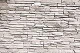 great-art Wandposter Weiße Steinwand - 140 x 100 cm Steinmauer Stonewall XXL Poster Wandbild Steine Wanddeko