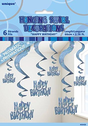 Unique Party, Geburtstagsdekorationen, hängendes Glitter, Prismas, Spiralen, 61 cm, 6er-Packung - Parent