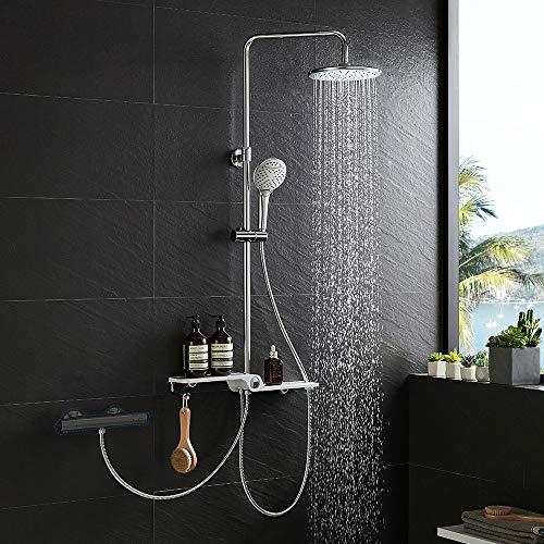 Lonheo 2-Funktionen Edelstahl Duschsystem mit Handbrause, Kopfbrause, Ablage und Höhenverstellbar Duschstange, Duschset Regendusche kann mit Badewannenarmatur und Thermostat Duscharmatur verbinden