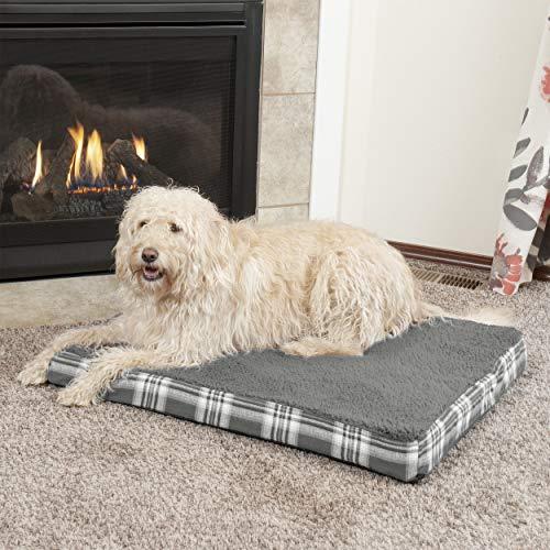 Furhaven Pet Products NAP Luxuriöses, orthopädisches Hundebett aus Frottee und Karostoff, Rauchgrau, Large -
