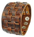 Vera pelle marrone Weave Wristband cinturino da polso bracciale da uomo con polsino fascia A50