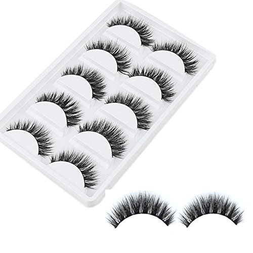 VWH 5Pairs 3D Natural Thick False Fake Eyelashes Eye Lashes Makeup Extension