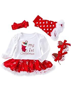 Vine Neugeborene Mädchen Weihnachten Kleid Blumen Stirnband Beinwärmer Spielanzug Outfit Set Kleinkinder Weihnachtskostüm...