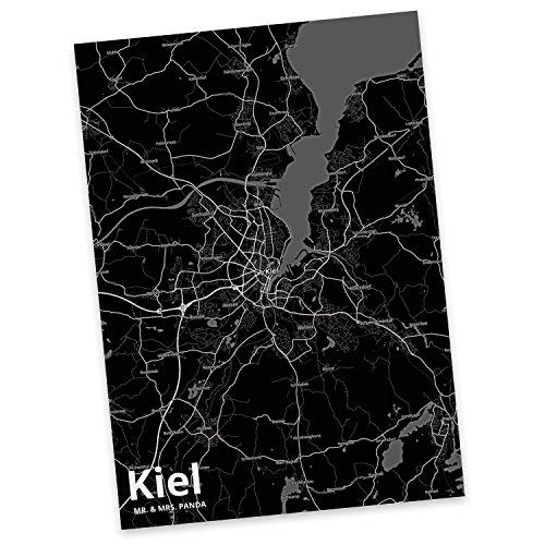 Mr. & Mrs. Panda Postkarte Stadt Kiel Stadt Black - Stadt Dorf Karte Landkarte Map Stadtplan Einladung, Geschenkkarte, Fan, Fanartikel, Souvenir, Andenken, Fanclub, Stadt, Mitbringsel