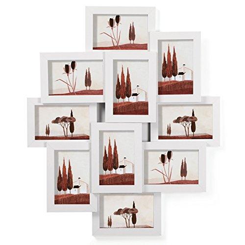 """SONGMICS Bilderrahmen Collage für 10 Fotos je 10 x 15 cm (4\"""" x 6\"""") aus MDF-Platten, Montage erforderlich, Weiß RPF20WT"""