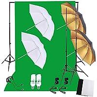 Andoer Kit de Estudio Fotografía - 3* Fondo(1.8x2.8m) + 1* Soporte de Fondo(2x3m) + 2* Paraguas Suave(83cm) + 2* Paraguas Reflector(83cm) + 2* Soporte de Luz(2m) + 2* Bombilla(45W 5500K) + 2* Zócalo Giratorio + 2* Pinza