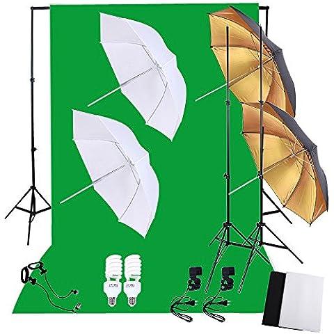 Andoer® Kit Set de Iluminación para Fotografía Profesional CON 2*45W 5500K Bombillas de Luz Diurna para Estudio + 2*Bases de Bombillas + Fondo No Tejido Negro &Verde &Blanco + 2*Soft Paraguas y 2*Reflector Paraguas + Soporte de Fondo (KIT B)