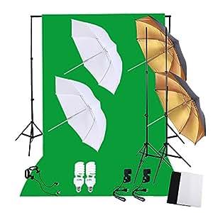 Andoer Photo photographie professionnelle Kit d'éclairage 45W 5500K lumière du jour Studio ampoules lumière Stands tissu non tissé vert blanc noir toile de fond doux réflecteur parapluies Backdrop Stands