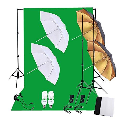 Andoer® Fotografia Photo Professional Lighting Kit Set con 45W 5500K Daylight Studio Lampadine Stands Sfondo Nero Bianco Verde Tessuto non tessuto morbido Riflettore Ombrelli Scenografia Stands
