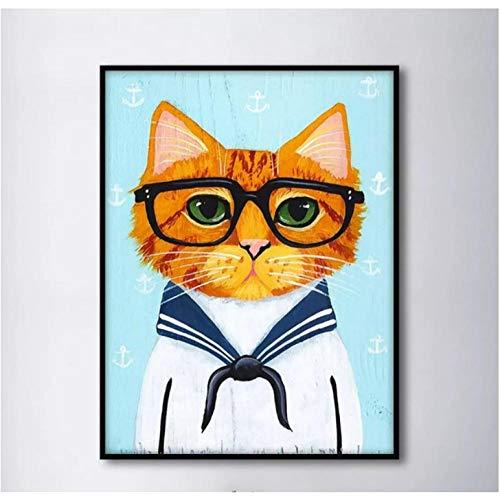 HXQQ Poster und Druck Marine kostüm niedlich Brille Katze leinwand malerei nordischen Stil kinderzimmer dekor wandkunst Bild kein - Katze Kostüm Niedlich