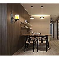 stile country lampada da parete camera da letto vetro trasparente americano industriale single-testa nera in ferro battuto candela parete sconce