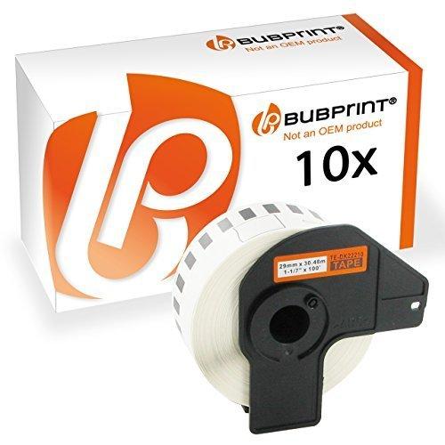 Bubprint 10 Rotoli Etichette compatibili per Brother DK-22210 per P-Touch 1000 QL 500 QL 570 QL 700 QL 710W QL 800 QL 810W QL 810 QL1050 QL-1060N