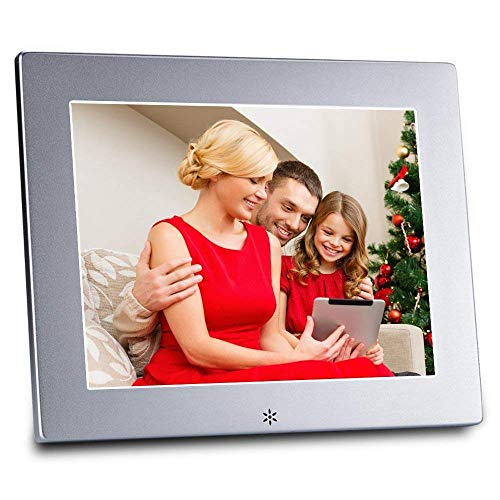 Foto Bilderrahmen digital, 8-Zoll-Metall-Digital-Fotorahmen mit 1024 * 768 hochauflösenden Display und Fernbedienung, Unterstützung USB/SD/MS/MMC / 3,5 mm Audio-Port (Silber)
