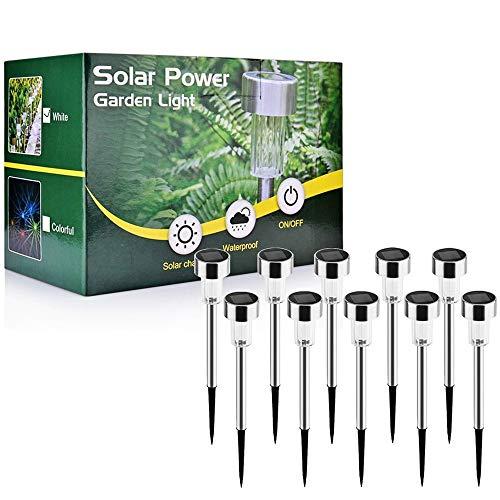 Solarleuchte, AUSHEN 10 Stück IP65 wasserdichte energiesparende LED Solarlampe, weiß, Edelstahl, ideal für Terrasse, Rasen, Garten und Wege [2 Jahre Garantiezeit]