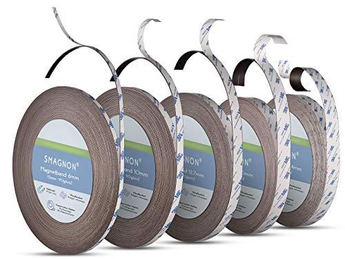 Smagnon magnetband mit 3M Kleber Kleberücken - DAS SMAGNON ORIGINAL - verschiedene Breiten & Längen - Magnetstreifen - Magnetband (1 Meter - Typ A + B, 10mm breite)