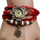 Ruikey Original Damen Vintage Uhren Webband Wickelarmband Lederarmband Armbanduhr Rot