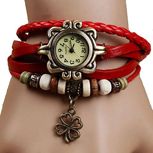 Demarkt Retro Vintage Klee Design Damen Armbanduhr Armreif Uhr Anhänger Spangenuhr Quarzuhren (Grün) - 3