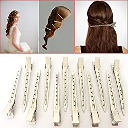 24 Pcs Set Of Metal Non-slip Hair Sectioning Sprung Clips Strong Grip Hairdressing Beauty Salon For Styles Hair Clips Cutting Straightening & Blow Drying For Girls Ladies Women