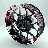 Felgenrandaufkleber Motorrad 4er Komplett-Set (17 Zoll) - Felgebettaufkleber Camouflage Redwood (schwarz-weiß-rot) (Design 1 - glänzend)
