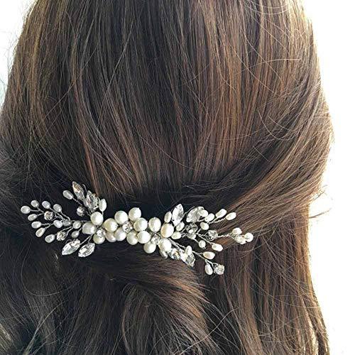 JOVONO Hochzeit Haarkamm Brautschmuck mit Strass und Perlen für Damen und Mädchen (Silber)