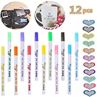 Outline Pen,Hirsrian12 Assorted Colors Double line Pen Glitter Marker Metallic Permanent Pens Writing Drawing Pens for DIY Cards Photo Album Scrapbook