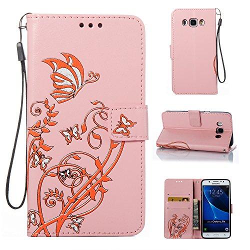 Cozy Hut Samsung J5108/Galaxy J5(2016) Hülle, Schmetterling Muster Leder Wallet Case Handyhülle Klapper Tasche Magnetverschluß mit Kartenfach Standfunktion für Samsung J5108/Galaxy J5(2016) - rosa