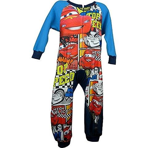 Bambini e ragazzi Disney Cars Lightning McQueen Vello Manica Lunga Pigiama interi con calzini in casella Blu