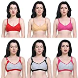 #7: New Care Women's Nylon Cotton Seamless Non-Wired Full Coverage High Impact Support Workout Sports Bra (Pack of 3 and 6)