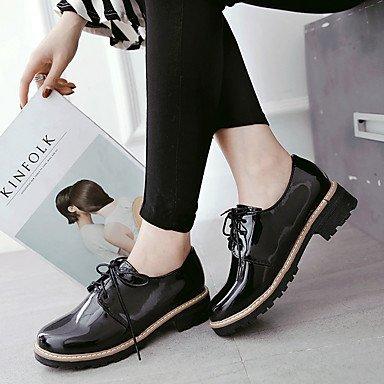 LYNXL delle donne scarpe tacchi Primavera Estate Autunno Comfort in similpelle ufficio & carriera Party & Sera casuale tacco grosso Lace-up Nero Rosa Borgogna Altro Burgundy