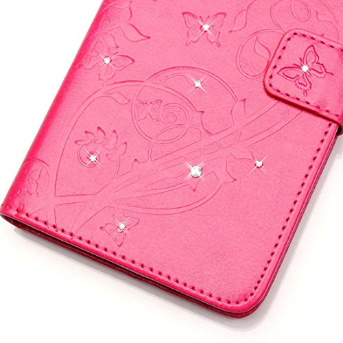 Lotuslnn iPhone 5C Coque, Kristall Strass Pave Flip Wallet Cuir Etui iPhone 5C Case Housse -( Coque+ Stylus Stift+Screen Protector)-Ppillon,Rose rose pink
