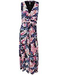 Universal Textiles Womens/Ladies Cross Front Tropical Maxi Dress With Pleat Detailing