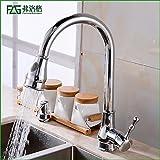 Bzzhen La piscina del tazón de fuente de la agua caliente y fría de la cocina puede girar y tirar del grifo vegetal del lavabo